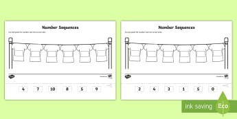 Cut and Paste Number Sequencing Activity Sheets - worksheets, order, counting, number formation, glue, infants, EYFS, summer