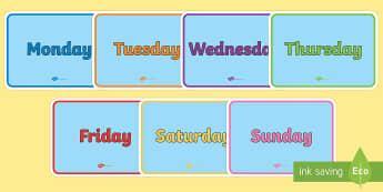 Days of the Week Signs - display poster pack, english, days of the week, display, poster, display poster, pack
