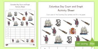 Columbus Day Count and Graph Activity Sheet - columbus day, columbus, christopher columbus, counting, graphing, count and graph, activity sheet, c