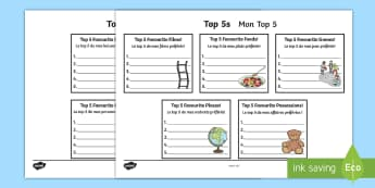 Top 5s Ranking Favourites Activity Sheet - English/French  - Top 5s Ranking Favourites Activity Sheet - Ranking, favourites, new class, getting to know you, pref