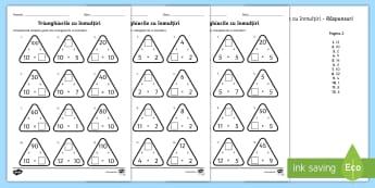 Triunghiurile cu tabla înmulțirii de la 2 la 12 Fișă de lucru - înmulțiri, produs, exerciții, fișe, proba înmulțirii,Romanian