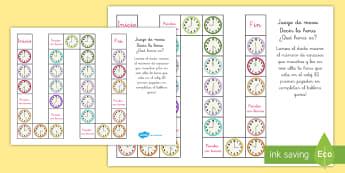Juego de mesa: Decir la hora - En punto, y media - decir la hora, juego, juego de mesa, reloj, relojes, en punto, hora, tiempo, y media, la hora, el ti