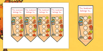 Autumn Sticker Reward Bookmarks 15mm - rewards, awards, reading