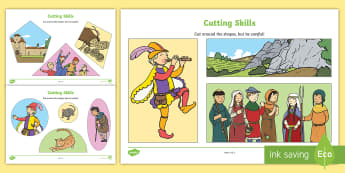 The Pied Piper Themed Cutting Skills Worksheet - motor skills