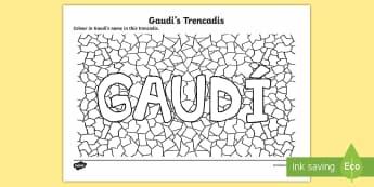Gaudi's Trencadis Colouring Page  - Gaudí, art, architecture, modernism, trencadís