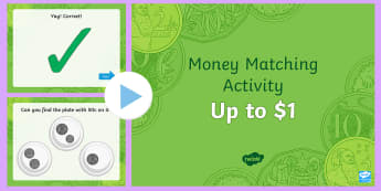 Money Matching Activity Up To $1 PowerPoint - counting coins, adding money, money addition, Australian money, silver coins, coin collections, coin