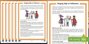 Staying Safe at Halloween Differentiated Reading Comprehension Activity English/French - Halloween, october, festival, autumn, celebration, safe, responsibility, safety, cosutmes, road safe
