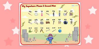 Superhero Themed Phase 5 Sound Mat - superheroes, phase five, mat