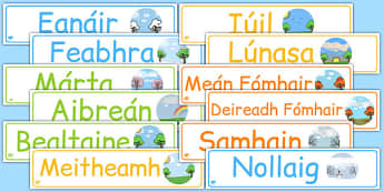 Months of the Year Display Banner Pack Gaeilge - gaeilge, months, year, months of the year, banner