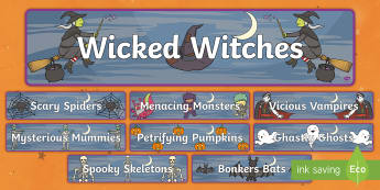 Halloween Characters Display Banner - display, art ideas,halloween characters, spooky, english, haunted, ,Irish