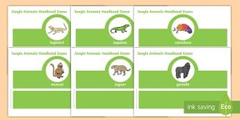 Jungle Animals, Oral Language Headband Game - ainmhithe, cluiche teanga, ag caint, gaeilge, dufair, Irish, play