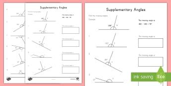 Supplementary Angles Activity Sheet - angles, supplementary angles, adding angles, subtracting angles, straight angles,