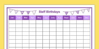 Staff Birthdays Year at a Glance - staff, birthdays, year, glance