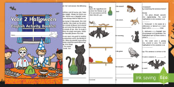 Year 2 Halloween English Activity Booklet - Festival, Spelling, Grammar, Punctuation, Comprehension