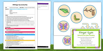 EYFS Butterfly Life Cycle Threading Finger Gym Plan and Resource Pack - egg, caterpillar, chrysalis, butterfly, EYFS