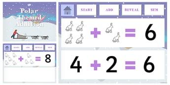 Polar Regions Themed Addition PowerPoint - polar, powerpoint