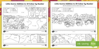 Little Acorns Addition Colour by Number - Twinkl originals, fiction, Little Acorns, Maths, Addition, Colouring, Colour by number, KS1, EYFS