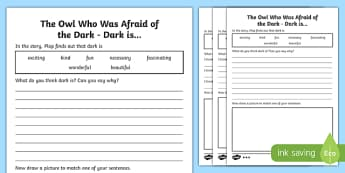 Dark Is... Differentiated Activity Sheet Pack-Scottish, worksheet