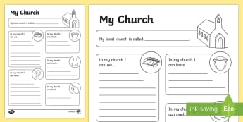My church senses Activity Sheet - Confession & First Communion Resources,Irish, worksheet