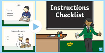 Instruction Checklist PowerPoint - Instructions, writing, time conjunctions, imperative verbs
