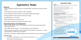 PE: Gymnastics: Shape Year 3 Adult Guidance