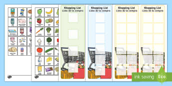Shopping List and Food Activity English/Spanish - Shopping Lists and Food Cards - shopping list, shopping, shop, list, food, cards,shoppinglist,grocer