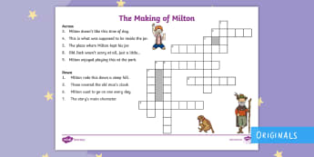 The Making of Milton Crossword - twinkl fiction, courage, jar, find, adventure, bravery