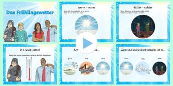 Spring Weather Temperature Adjectives PowerPoint German - Spring, temperature, German, weather, adjectives, season