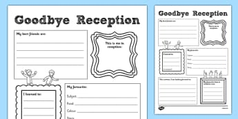 Goodbye Reception Writing Frame - goodbye, reception, writing frame, writing, frame