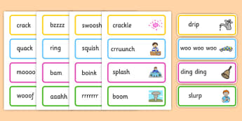 Onomatopoeia Word Cards - onomatopoeia, word cards, literacy