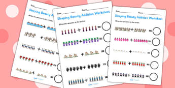 Sleeping Beauty Up to 20 Addition Sheets - sleeping beauty, 0-20 addition, addition, addition worksheet, counting and addition, counting, numeracy, adding