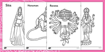 Diwali Colouring Sheets - Diwali, religion, hindu, activity, posters, colouring, fine motor skills, hanoman, rangoli, sita, ravana, pooja thali, rama, lakshmi, golden deer, diva lamp, sweets, new year, mendhi, fireworks, party, food,