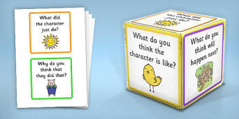 Giant Foam Dice Reading Prompts and Questions - foam dice, prompt