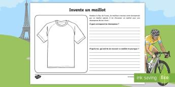 Feuille d'activité : Invente ton propre maillot du Tour de France - Arts Plastiques, Arts, dessin, cycle 1, cycle 2, vélo, cyclisme, bike,French
