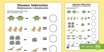 Dinosaur Themed Subtraction Sheet English/Polish - Dinosaur Themed Subtraction Sheet - subtract, take away, numeracy, dinosuar, dinsaur, dinosour, subs