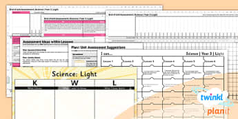 Science: Light Year 3 Unit Assessment Pack