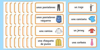 Tarjetas de vocabulario: En la tienda de ropa - clothes, ropa, word cards, tarjetas de vocabulario, tienda, shop