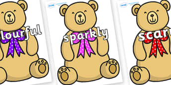 Wow Words on Bow Tie Teddy - Wow words, adjectives, VCOP, describing, Wow, display, poster, wow display, tasty, scary, ugly, beautiful, colourful sharp, bouncy