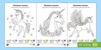 Hojas de colorear por divisiones exactas con dos cifras - unicornios - dividir, división, repartir, cifras, divide, division, sharing, figures, digits, escrito, escrita,