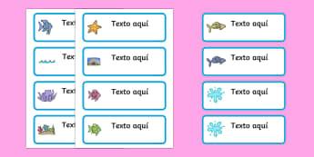 El pez arcoiris etiquetas de perchero