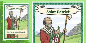 St. Patrick Large Display Poster-Irish - ROI - St. Patrick's Day Resources, Ireland, March, Patron Saint,Irish