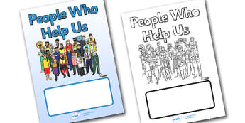 People Who Help Us Editable Book Cover -  people who help us, help, helping, police, nurse, doctor, people, kind, book cover, cover, book