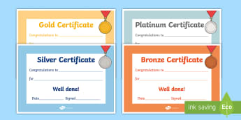 Gold Silver Bronze Certificates - gold silver bronze certificates, gold, bronze, silver, certificates, award, well done, reward, medal, rewards, school, general, certificate, achievement