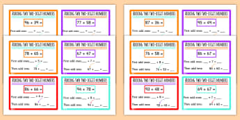 Add Two Digit Numbers Crossing 10 and 100 Challenge Cards - add