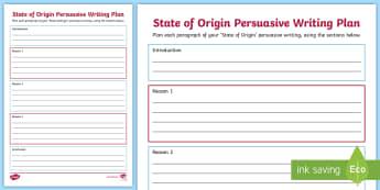State of Origin Persuasive Writing Plan - Australia, Australian, English Curriculum, State of Origin, Persuasive writing,Australia