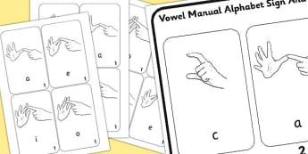 British Sign Language Left Handed Vowel Manual Alphabet Sign