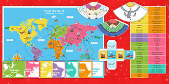 Christmas Around the World Board Game English/Romanian - Christmas Around the World Board Game - christmas, game, chritmas, chriatmas, christms, christams, c