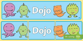 Our School Dojo Display Banner - behaviour management, rewards, points, homework rewards, class rules,