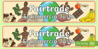 Fairtrade Display Banner English/Spanish - Fairtrade Display Banner - fairtrade, fair trade, banner, trade, abnner, EAL, Spanish, English-Spani