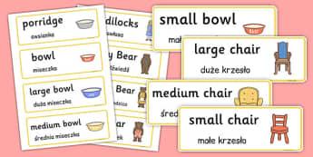 Goldilocks and the Three Bears Word Cards Polish Translation - polish, goldilocks, three bears, word cards